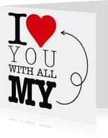 Valentijnskaart I love you hart