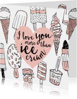 Valentijnskaart ijsjes