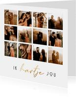 Valentijnskaart ik hartje jou fotocollage 12 foto's