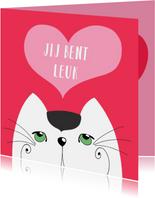 Valentijnskaart - Kat - jij bent leuk - SK