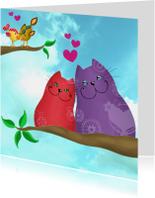 Valentijnskaart katten en vogels