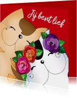 Valentijnskaarten - Valentijnskaart katten verliefd - sk