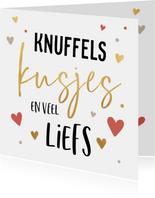 Valentijnskaart knuffels en kusjes