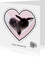 Valentijnskaart - Konijntjes in hartje