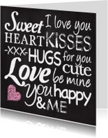 Valentijnskaart krijt love tekst