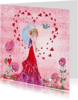 Valentijnskaart Liefde Hartjes Trompet