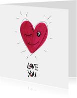 Valentijnskaart Love you hart met gezichtje