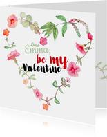 Valentijnskaart met bloemen hartje
