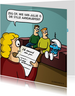 Valentijnskaarten - Valentijnskaart met grappige 'Ik smurf van jou' cartoon