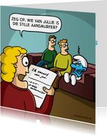 Valentijnskaart met grappige 'Ik smurf van jou' cartoon