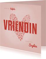 Valentijnskaart met hart voor de liefste VRIENDIN