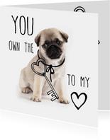 Valentijnskaart met lief hondje