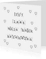 Valentijnskaart met liefdesquote in zwart wit en hartjes
