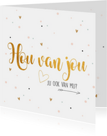 Valentijnskaart met tekst hou van jou