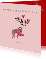 Valentijnskaart met trendy sloth en hartje