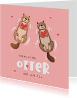 Valentijnskaart otters hartjes liefde vriendschap