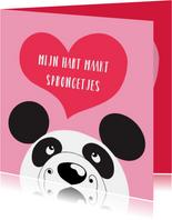 Valentijnskaart - panda - sprongetjes van geluk - SK