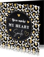 Valentijnskaart panterprint goudlook hartjes