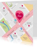 Valentijnskaart routekaart naar mijn hart