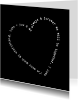 Valentijnskaart tekst rand hart