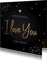 Valentijnskaart typografie zwart goudlook confetti