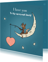 Valentijnskaart vos op de maan
