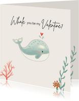 Valentijnskaart - Walvis mintgroen met koraal