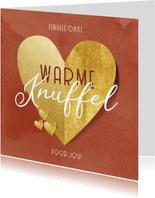 Valentijnskaart warme knuffel gouden hart rode waterverf