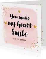 Valentijnskaart waterverf roze typografie goud confetti