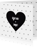 Valentijnskaart zwart-wit hart