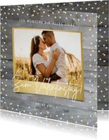 Valentins-Grußkarte mit Foto rustikaler Hintergrund