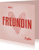 Valentinskarte Freundin mit Herz