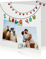 Valentinskarte Girlande Herzen