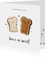 Valentinskarte lustig 'Twice as sweet'