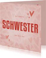 Valentinskarte 'Meine liebste Schwester'
