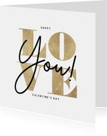 Valentinskarte Typografie 'Love You'