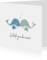Valentinskarte 'Whale you be mine' blau & blau