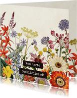 Van harte gefeliciteerd felicitatiekaart vintage bloemenveld