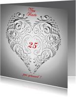 Van Harte jubileum zilver met hart