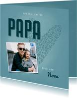 Vatertagskarte Foto und blaues Herz