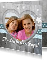 Vatertagskarte Holzlook Foto in Herz