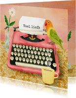 Veel liefs illustratie van een typemachine met brief