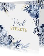 Veel liefs kaart delftsblauw bloemen