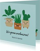 Verhuisbericht met vrolijke planten