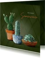 Verhuiskaart donkergroen met cactussen en succulent in pot