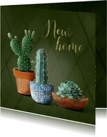 Verhuiskaart donkergroen met cactussen en succulent
