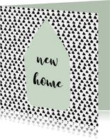 """Verhuiskaart """"driehoekjes"""" aanpasbare kleur - WW"""