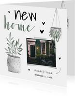 Verhuiskaart foto new home met hartjes en planten
