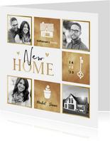 Verhuiskaart goud fotocollage hartjes huis sleutel plant