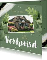 Verhuiskaart hip botanisch groen bladeren confetti foto